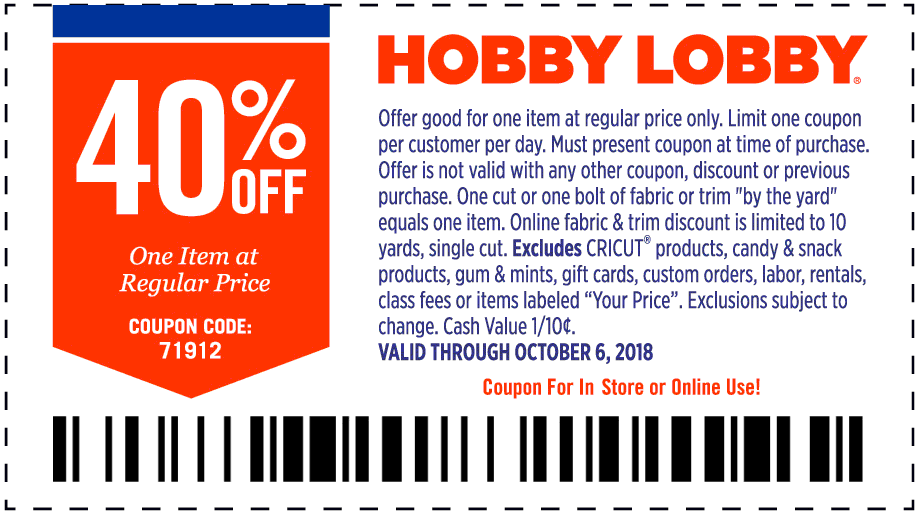 Hobby Lobby Coupon February 2020 40% off a single item at Hobby Lobby, or online via promo code 71912