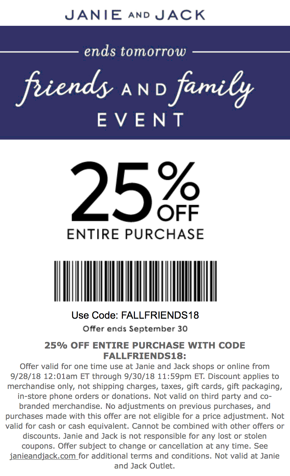 jane and jack coupon code