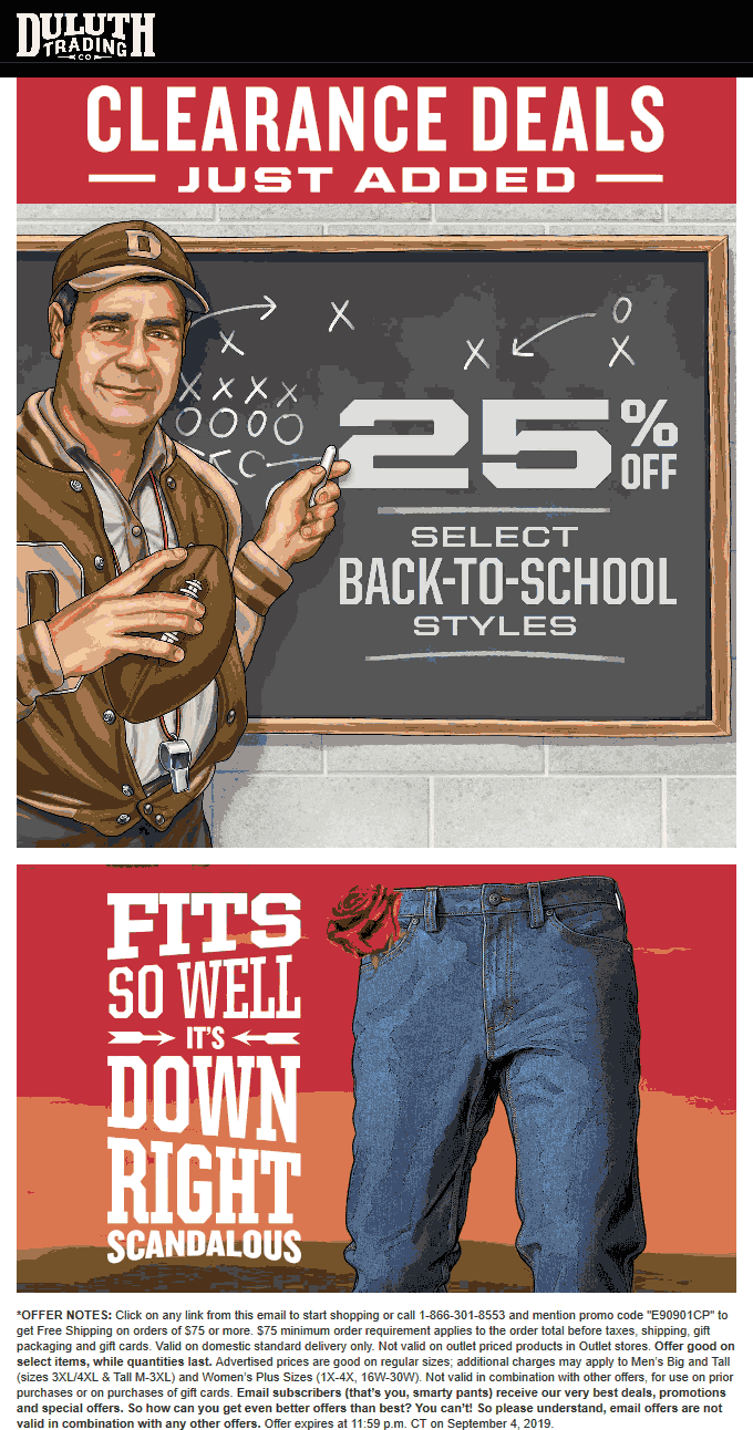 Duluth Trading Co Coupon November 2019 25% off back to school at Duluth Trading Co, ditto online