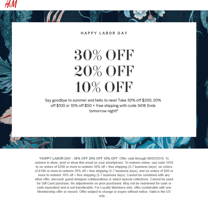 H&M Coupon October 2019 10-30% off $50+ at H&M, or online via promo code 3418