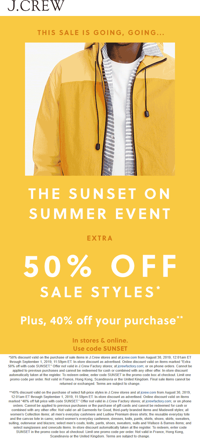J.Crew Coupon February 2020 Extra 50% off sale items today at J.Crew, or online via promo code SUNSET
