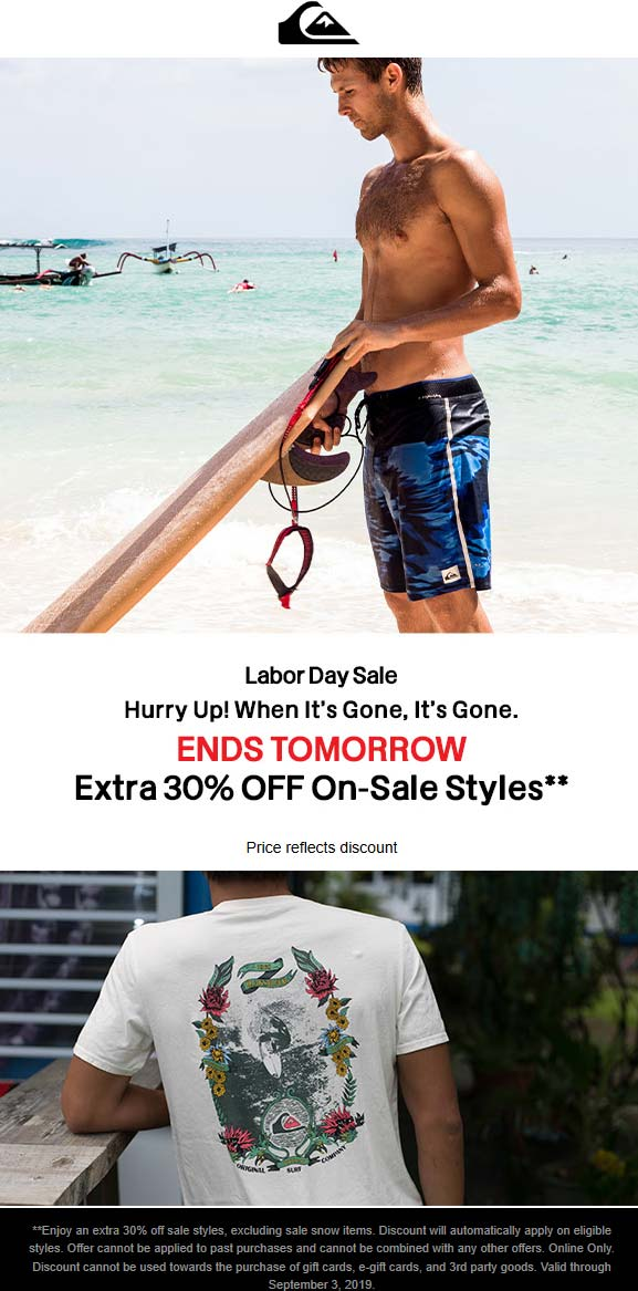 Quiksilver Coupon November 2019 Extra 30% off sale items online at Quiksilver