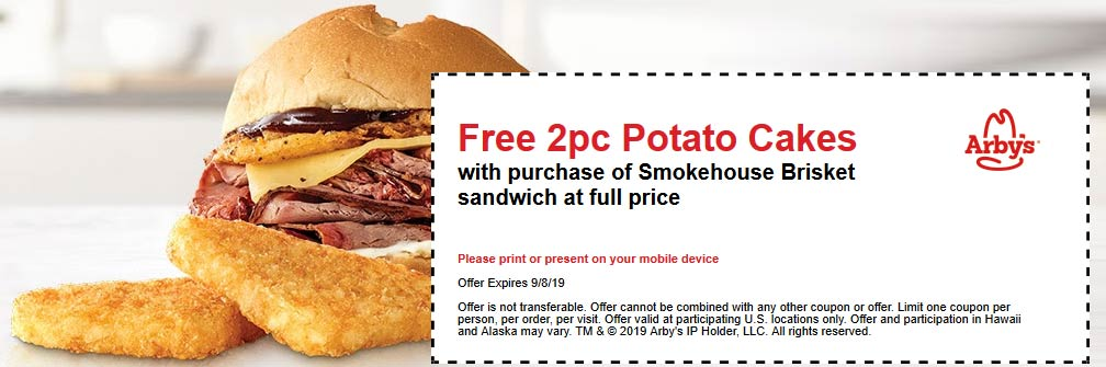Arbys Coupon November 2019 Free potato cakes with your brisket sandwich at Arbys