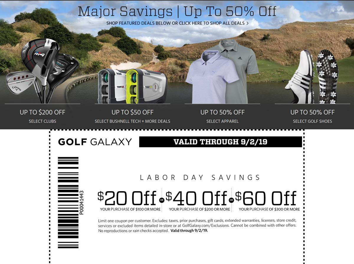 Golf Galaxy Coupon November 2019 $20 off $100 & more today at Golf Galaxy