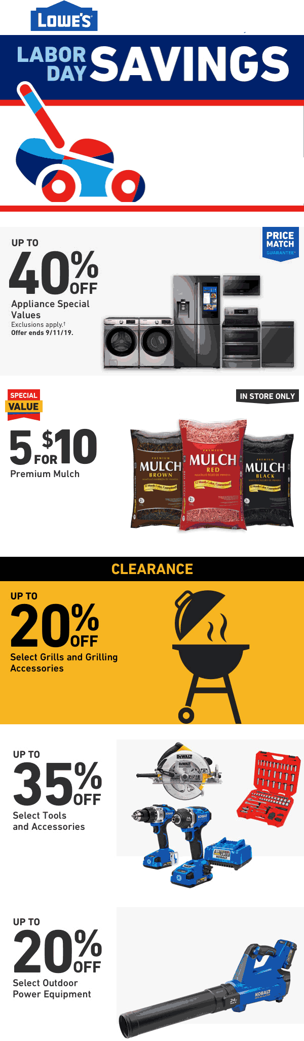 Lowes Coupon November 2019 5 for $10 on mulch bags at Lowes