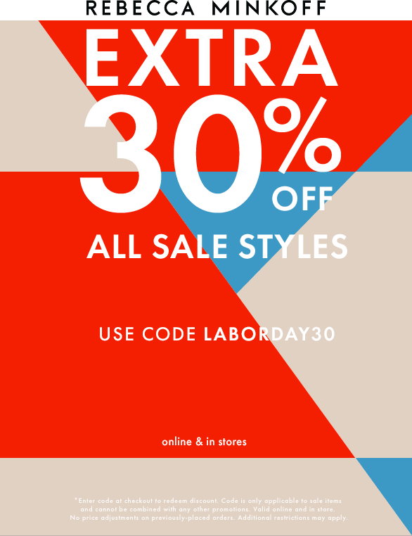 Rebecca Minkoff Coupon October 2019 Extra 30% off sale items at Rebecca Minkoff, or online via promo code LABORDAY30