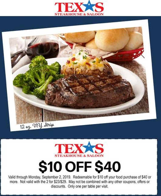 Texas Steakhouse Coupon February 2020 $10 off $40 today at Texas Steakhouse restaurants
