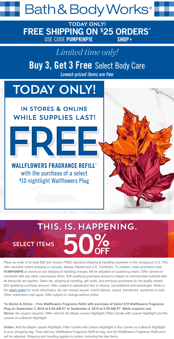 Bath & Body Works Coupon November 2019 Free fragrance refill with your plug today at Bath & Body Works, ditto online