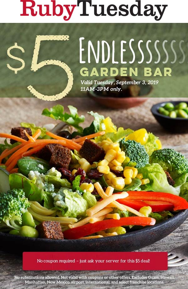 Ruby Tuesday Coupon November 2019 Bottomless garden buffet for $5 today at Ruby Tuesday restaurants