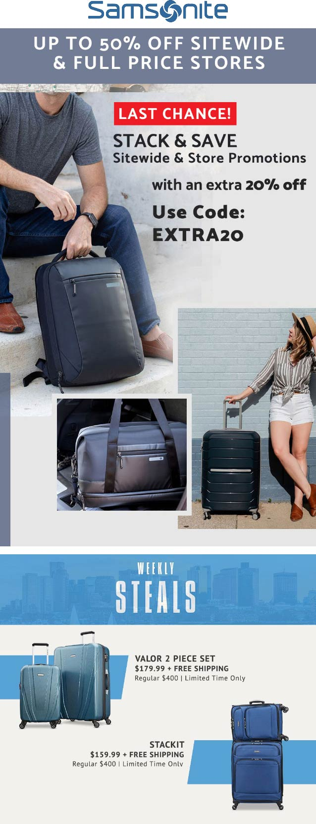 Samsonite coupons & promo code for [July 2020]