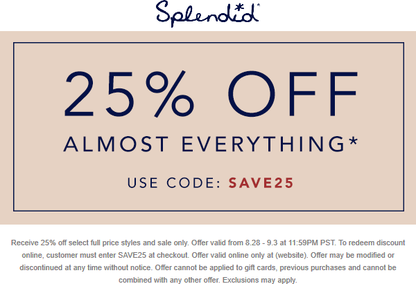 Splendid Coupon February 2020 25% off online today at Splendid via promo code SAVE25