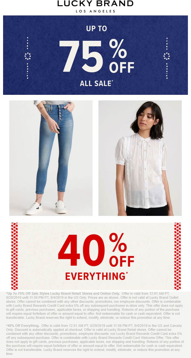 Lucky Brand Coupon January 2020 40% off everything today at Lucky Brand, ditto online