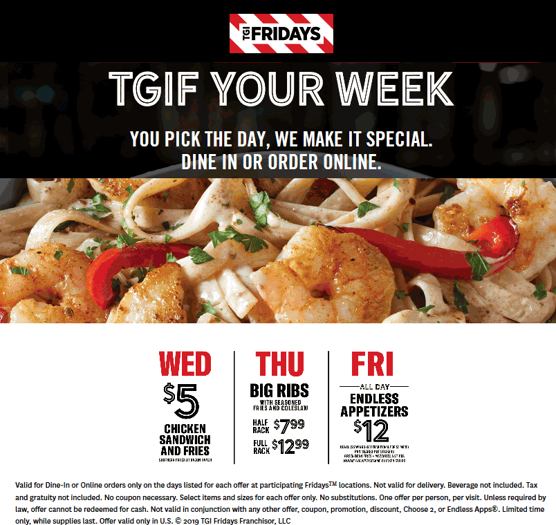 TGI Fridays coupons & promo code for [April 2020]
