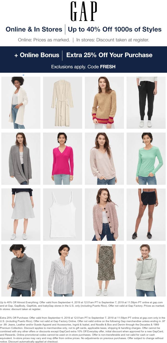 Gap Coupon February 2020 Extra 25% off online at Gap via promo code FRESH