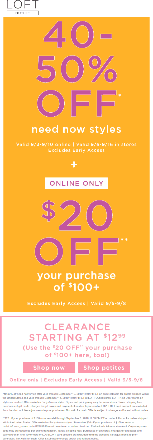 LOFT Outlet Coupon January 2020 40-50% off need now styles at LOFT Outlet, ditto online