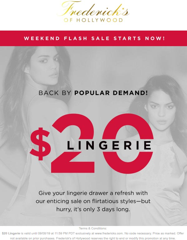 Fredericks of Hollywood Coupon November 2019 $20 lingerie at Fredericks of Hollywood
