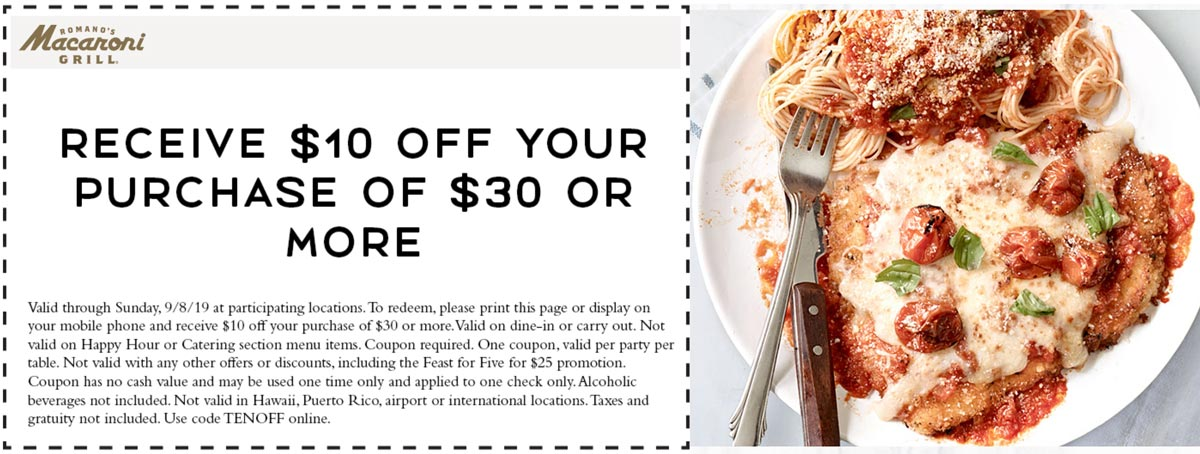 Macaroni Grill Coupon November 2019 $10 off $30 at Macaroni Grill restaurants