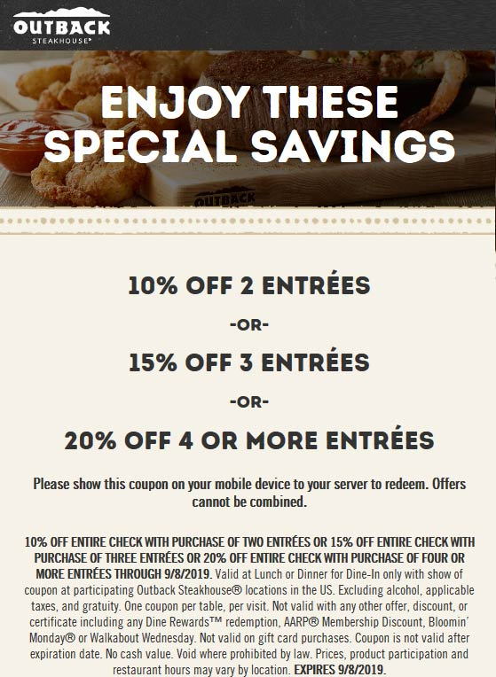 Outback Steakhouse Coupon November 2019 10-20% off at Outback Steakhouse restaurants