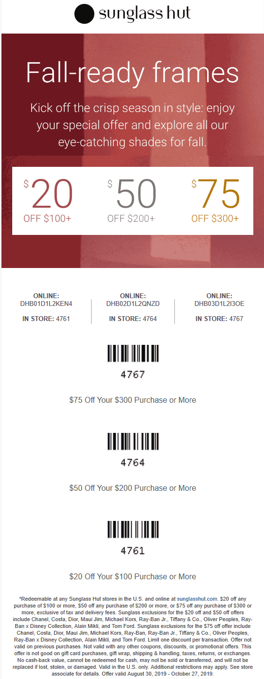 Sunglass Hut coupons & promo code for [December 2020]