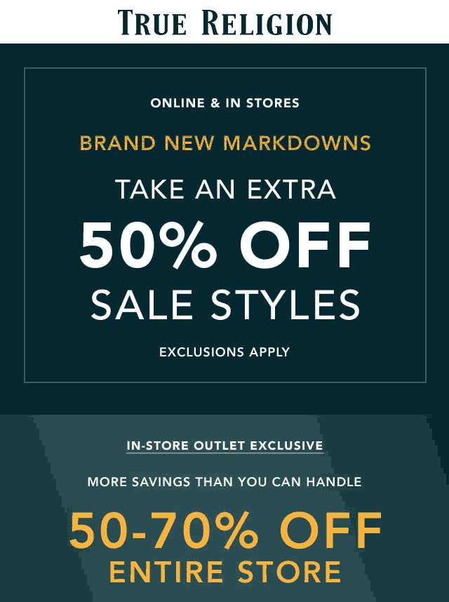 True Religion Coupon January 2020 Extra 50% off sale items & more at True Religion, ditto online