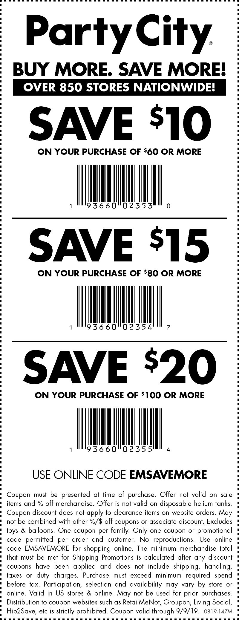 Party City Coupon February 2020 $10 off $60 & more at Party City, or online via promo code EMSAVEMORE