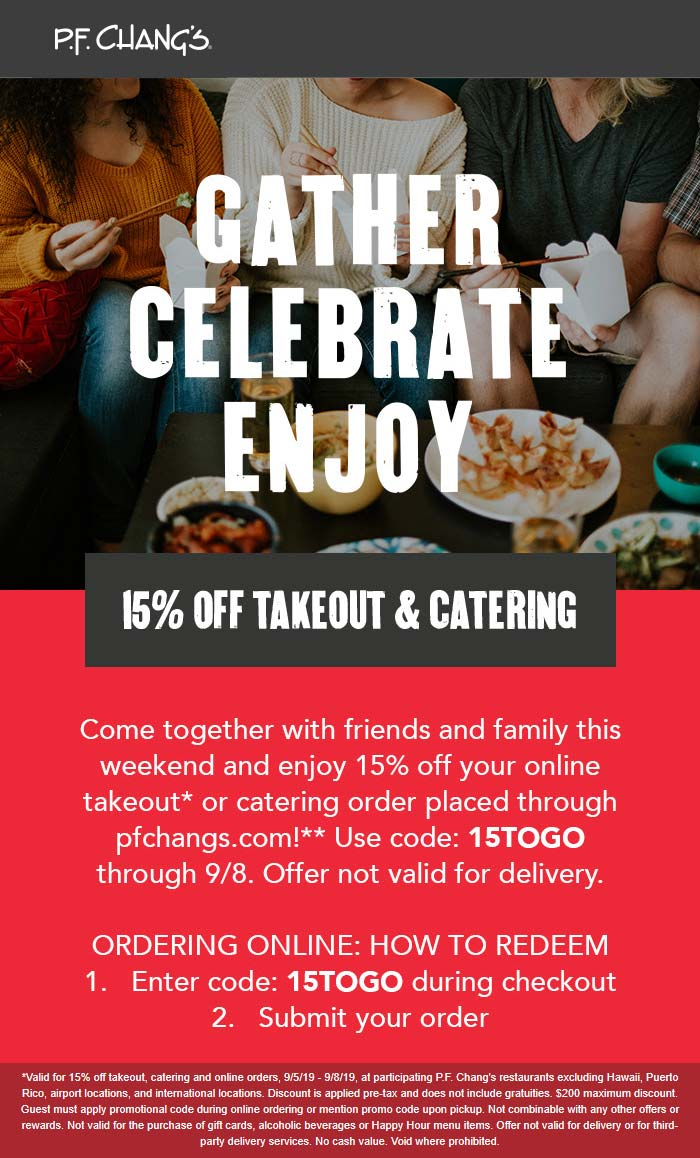 P.F. Changs Coupon January 2020 15% off takeout at P.F. Changs via promo code 15TOGO