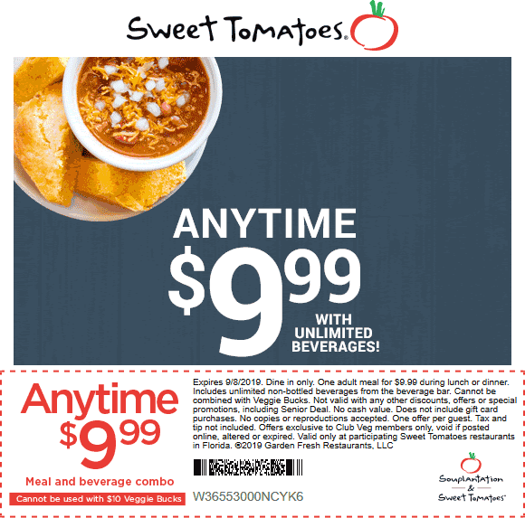Sweet Tomatoes Coupon January 2020 Meal + beverage = $10 at Sweet Tomatoes buffet