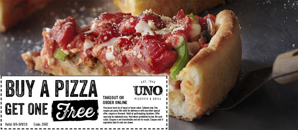 Uno Pizzeria Coupon February 2020 Second pizza free at Uno Pizzeria