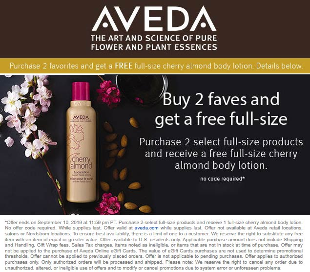 Aveda Coupon October 2019 Free body lotion with 2 full size products online at AVEDA, no code needed