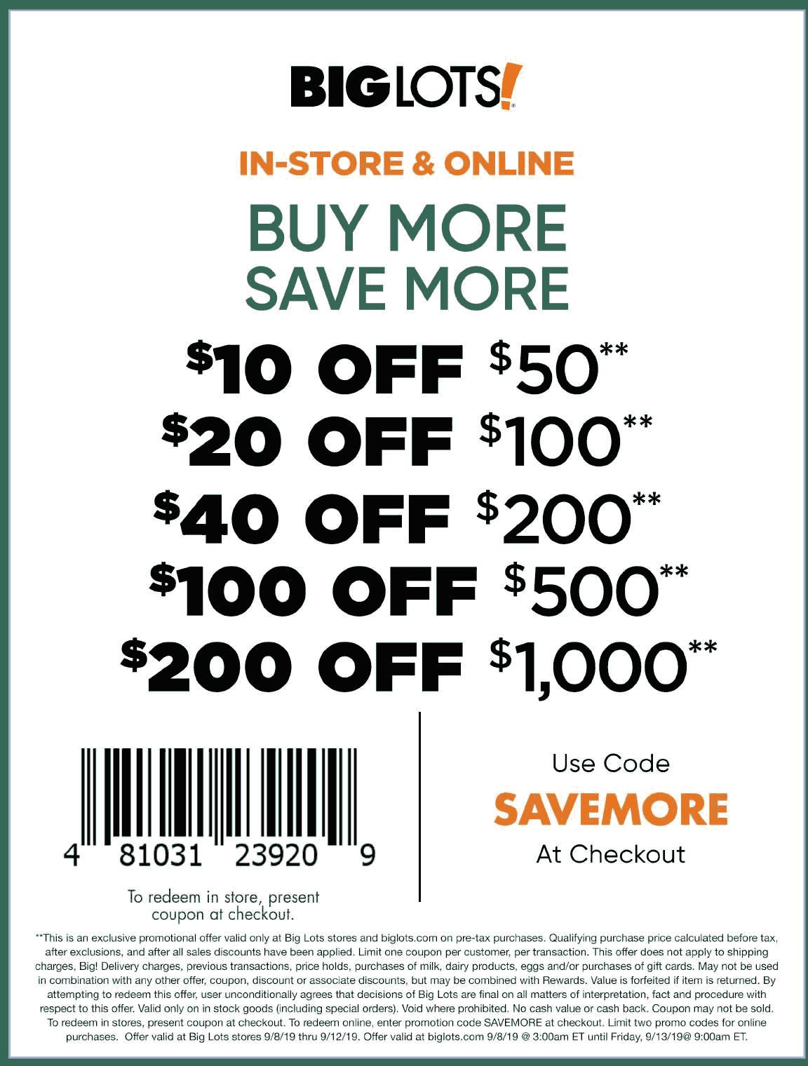 Big Lots Coupon November 2019 $10 off $50 & more at Big Lots, or online via promo code SAVEMORE