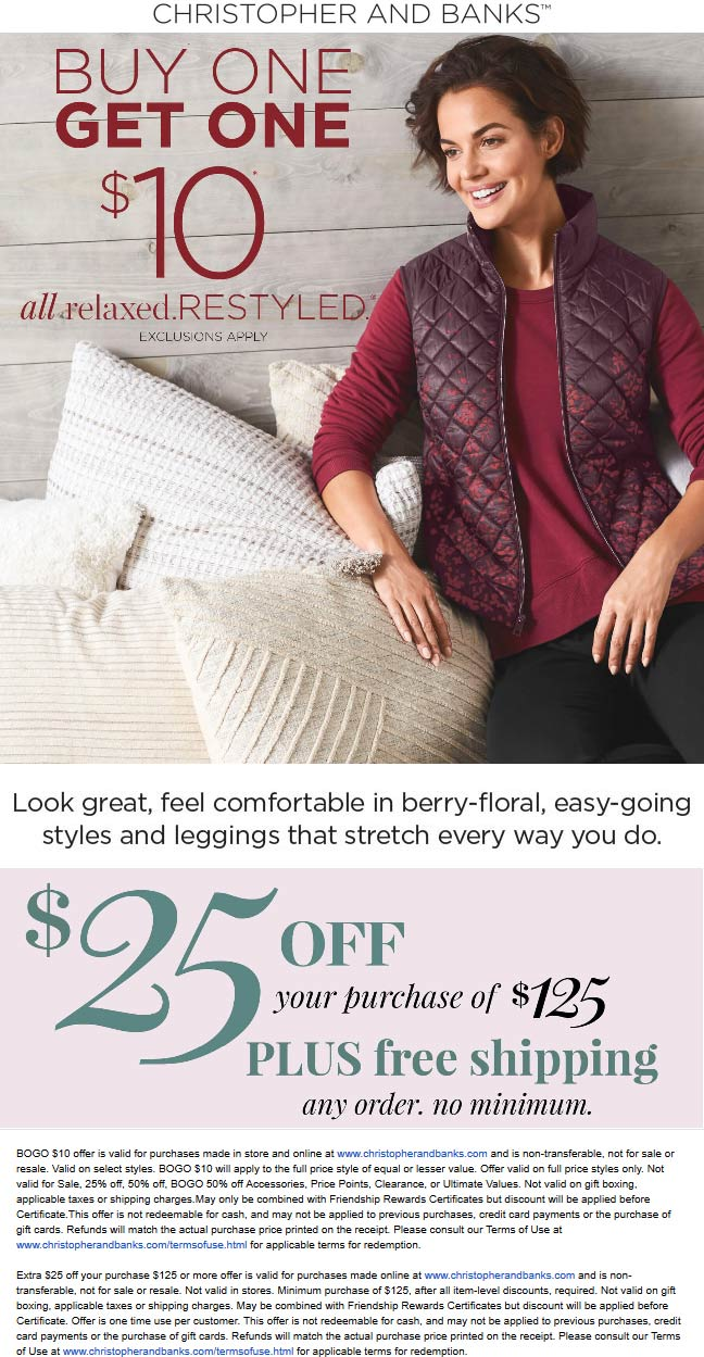 Christopher And Banks Coupon October 2019 Second item $10 today at Christopher and Banks, also online + $25 off $125 no code needed