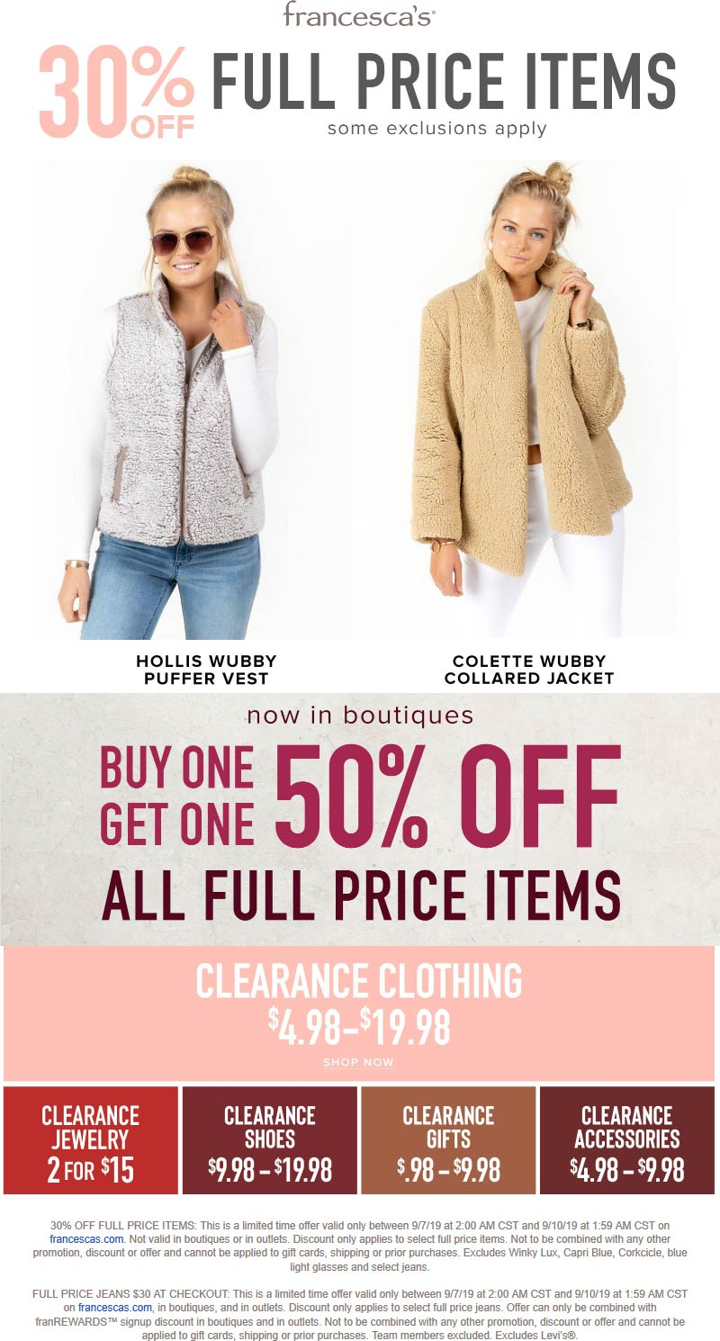 Francescas Coupon November 2019 Second item 50% off at Francescas, or 30% off online