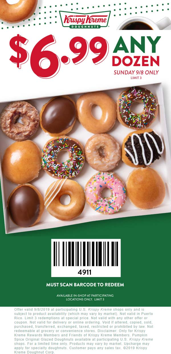 Krispy Kreme Coupon October 2019 $7 dozen doughnuts today at Krispy Kreme