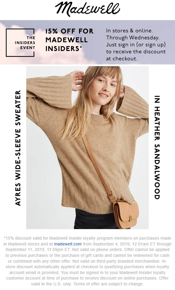 Madewell Coupon October 2019 15% off at Madewell, ditto online