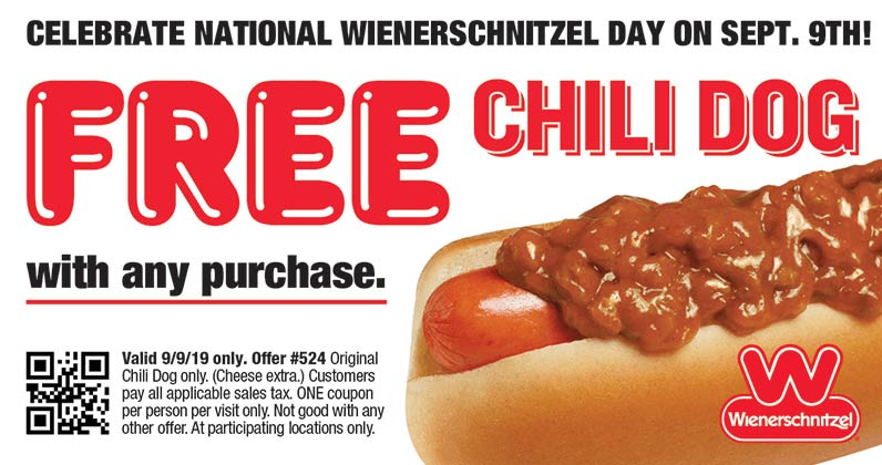 Wienerschnitzel Coupon February 2020 Free chili dog with any order Monday at Wienerschnitzel restaurants