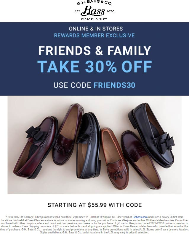 Bass Factory Outlet coupons & promo code for [April 2020]
