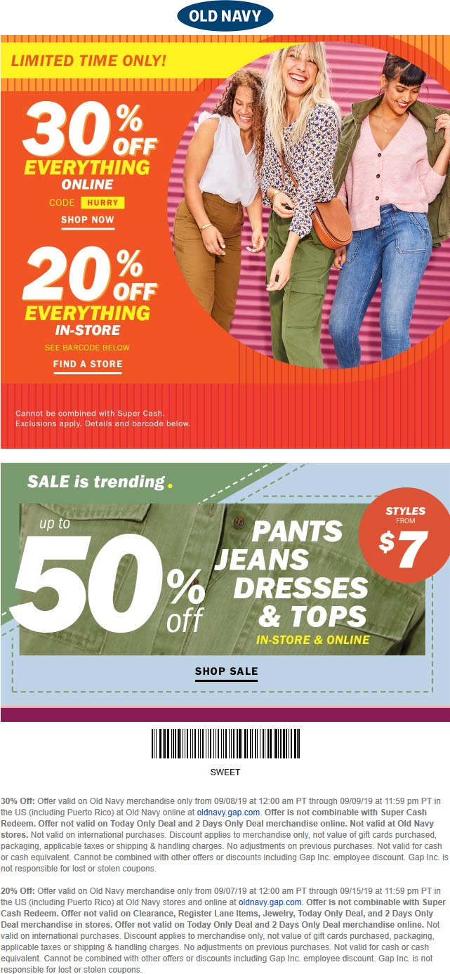 Old Navy Coupon September 2019 20% off at Old Navy, or 30% online via promo code HURRY