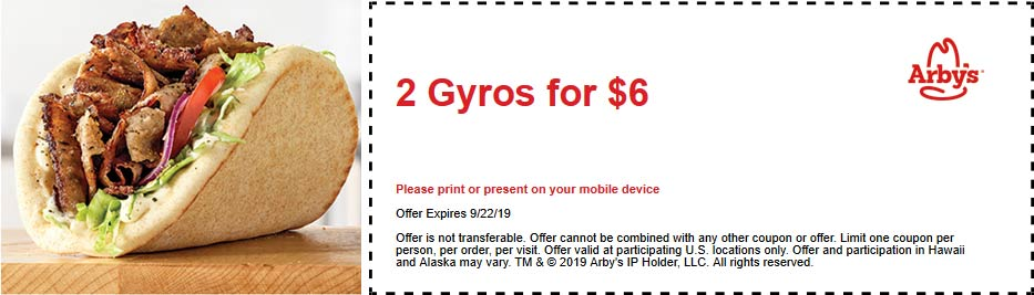Arbys coupons & promo code for [August 2020]