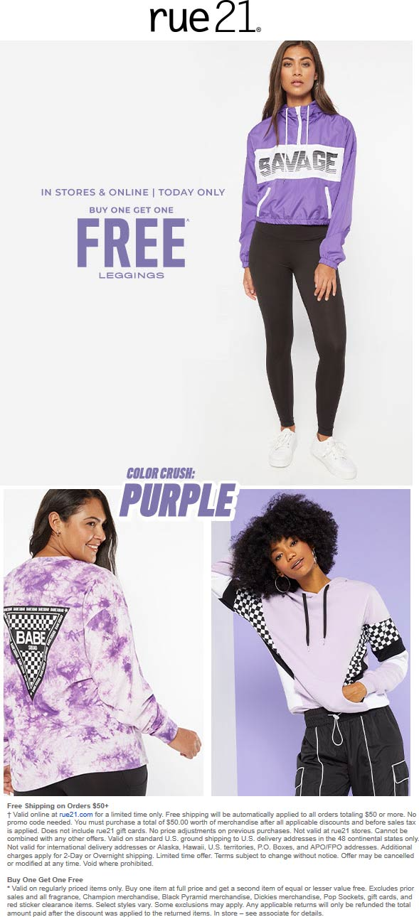 Rue21 Coupon September 2019 Second leggings free today at rue21, ditto online