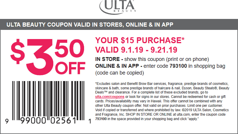Ulta Coupon October 2019 $3.50 off $15 at Ulta Beauty, or online via promo code 793100