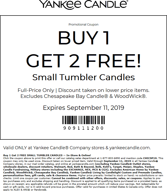 Yankee Candle Coupon November 2019 3-for-1 on small candles at Yankee Candle, or online via promo code CHICSP19