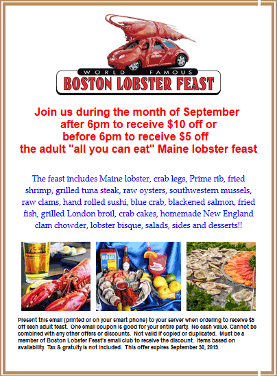 Boston Lobster Feast Coupon October 2019 $5-$10 off bottomless lobster at Boston Lobster Feast restaurants
