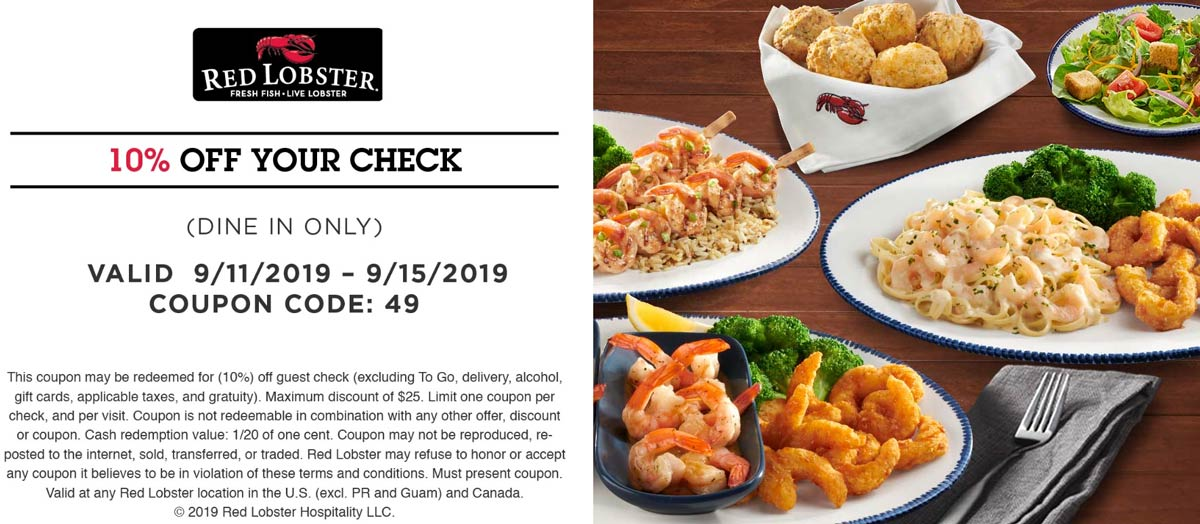 RedLobster.com Promo Coupon 10% off at Red Lobster restaurants
