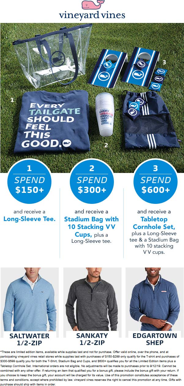 Vineyard Vines Coupon February 2020 Free shirt or cornhole set with $150+ spent at Vineyard Vines, ditto online