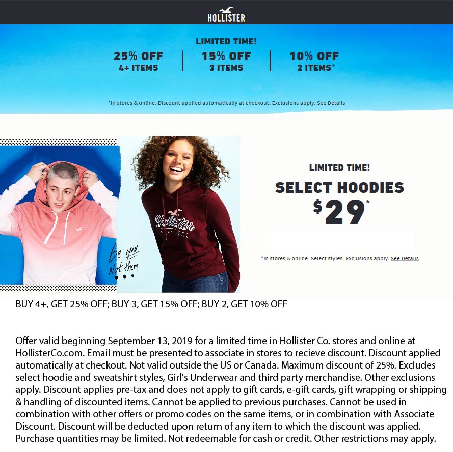 Hollister Coupon February 2020 10-25% off at Hollister, ditto online