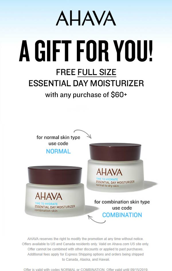AHAVA.com Promo Coupon Free full size moisturizer with $60 spent at AHAVA via promo codes NORMAL or COMBINATION