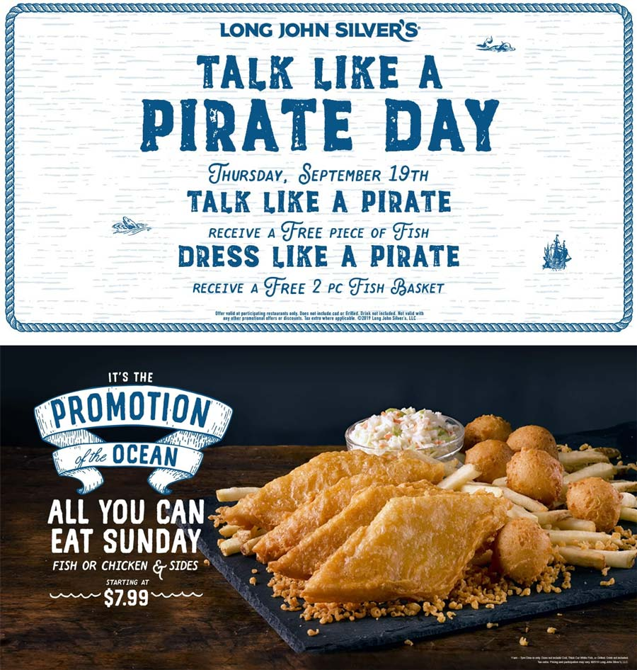 Long John Silvers Coupon February 2020 Free food for talking or dressing like a pirate Thursday at Long John Silvers restaurants