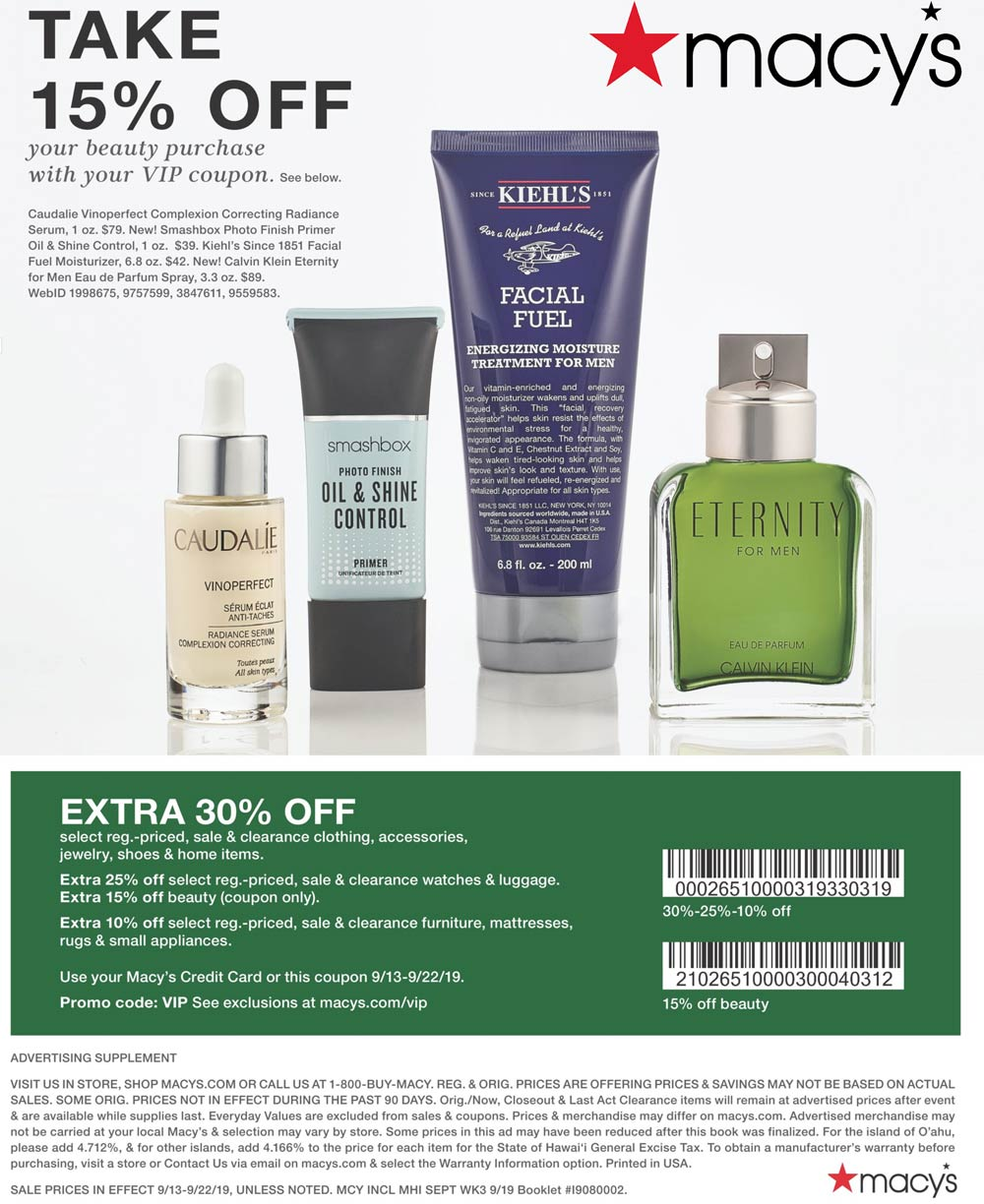 Macys Coupon November 2019 Extra 30% off at Macys, or online via promo code VIP