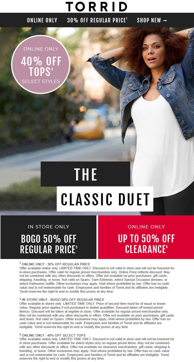 Torrid Coupon February 2020 Second item 50% off at Torrid, or 30%+ online no code needed