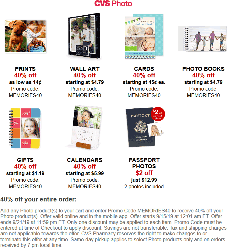CVS Pharmacy Coupon November 2019 40% off everything photo at CVS Pharmacy via promo code MEMORIES40